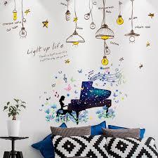 Shijuekongjian Cartoon Girl Piano Wall Stickers Diy Chandelier Lights Wall Decals For House Kids Rooms Baby Bedroom Decoration Wall Stickers Aliexpress