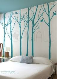 Leafy Winter Tree Wall Decal Living Room Birds Wall Decal Etsy