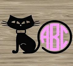 Amazon Com Kitty Cat Circle Border Monogram Decal Choose Colors And Size Add Letters For Car Windows Yeti Cups Laptop Water Bottle Etc Metallic And Glitter Vinyl Handmade