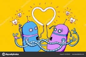 couple robots love stock photo