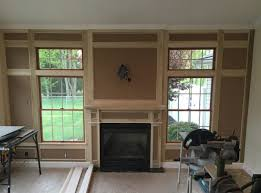 how to layout a paneled fireplace wall