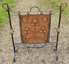 art nouveau copper iron fire screen
