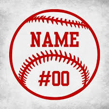 Adhesive Vinyl Decal Of A Baseball That Can Be Customized With A Name And Number Please Leave In Notes When Baseball Vinyl Decal Baseball Decals Sports Decals