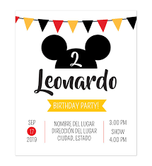 Invitacion Cumpleanos Mickey Fiesta Invitaciones De Cumpleanos