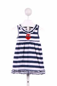 navy striped appliqued cal dress
