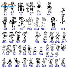 13cm Tall Stick Figure My Family People Car Decal Sticker For Car Window Phone Notebook Dad Mom Kids Pattern Cars Stickers L960 Car Stickers Aliexpress