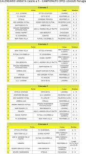 CALENDARIO ANDATA Calcio a 5 - CAMPIONATO OPES LEAGUE Perugia - PDF Free  Download