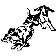 14 9cm 12cm Vinyl Decal Beagle Chase Rabbit Dog Puppy Hunting Car Sticker S6 3491 Aliexpress