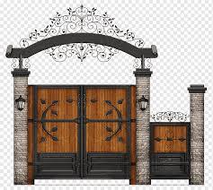 black metal framed brown wooden gate