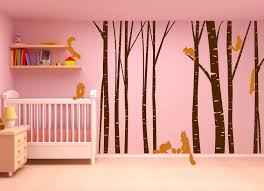 Birch Tree Forest Set Vinyl Wall Decal Nursert Art Squirrels 1230 Innovativestencils