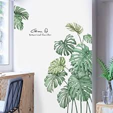Tropical Leaves Wall Decal Nature Palm Tree Leaf Plants Wall Sticker Art Murals For Bedroom Living Room Classroom Offices Home Decoration Amazon Com