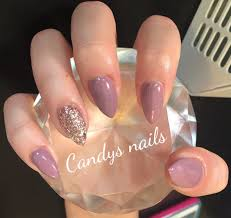 Purple And Champagne Gold Glitter Gel Overlay Acrylic Nails With