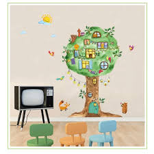 Vova 1pcs Cartoon Animal Tree House Vinyl Wall Stickers For Kids Room Kindergarten Baby Room Wall Decoration Home Decor Art Decals Mural 60 90cm