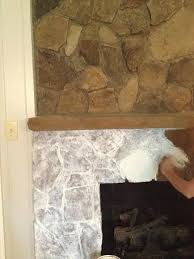 painting a stone fireplace finally