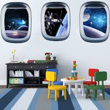 New 3d Effect Fake Window View Galaxy Universe Wall Stickers For Living Room Kids Room Home Decoration Wall Decals Home Decor Leather Bag