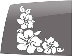Amazon Com Window Swag Hibiscus Flower Corner Sticker Solid White Decal Hawaiian Flowers Vinyl Sticker Automotive