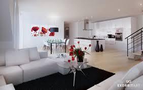 red white black decor interior design
