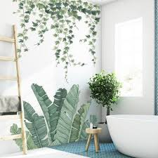 Charm Green Banana Leaf Living Room Home Decor Hanging Leaves Vines Garden Decals Greenery Plants Wall Stickers House Mural Thefuns On Artfire