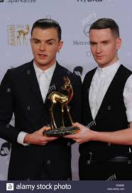 British singers Theo Hutchcraft (R) and Adam Anderson of the band ...