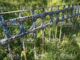 Old Rusty Garden Fence With Cracked Blue Paint Stock Photo Download Image Now Istock