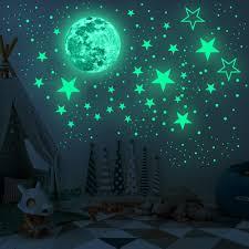 1 Set Moon Stars Combination 3d Wall Sticker Bedroom Living Room Home Decoration Kids Room Decals Glow In The Dark Stickers Walmart Com Walmart Com