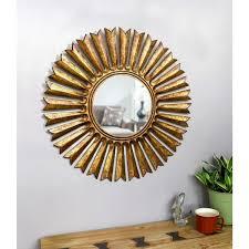 sunburst antique gold wall mirror