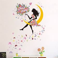 Shop Moon Floral Girl Butterfly Large Wall Sticker Mural Art Decals Kids Room Decor Online From Best Wall Stickers Murals On Jd Com Global Site Joybuy Com
