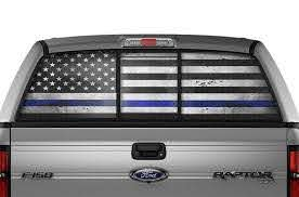 Ford F150 Rear Window Decals Thin Blue Line Racerx Customs Truck Graphics Grilles And Accessories