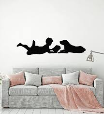 Vinyl Wall Decal Boy Reading Book Dog Kids Room Home Interior Stickers Wallstickers4you