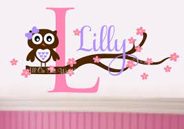 Nursery Owl Wall Decal Baby Girl Name Decal Owl Decals Etsy