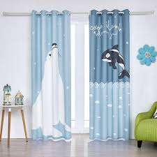 Cartoon Cute Baby Blue White Kids Dolphin Curtains For Children Room