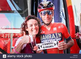 Paola Gianotti with Vincenzo Nibali Italian cyclist at the final stage 21  of the 2019 Giro 'Italia Time Trial in Verona @ Fabrizio Malisan Photos  Stock Photo - Alamy