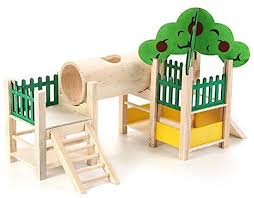 Amazon Com Teepao Hamster Houses And Hideouts Natural Wooden Small Animals Playground Activity Set Platform Villa With Tube Fences Ladders Roofs For Dwarf Mice Gerbil Sugar Gliders Etc Pet Supplies