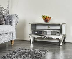 mirrored tv stand media unit drawer