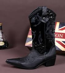 leather boots fashion black mens