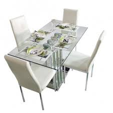 2 4 feet 4 seater glass dining table