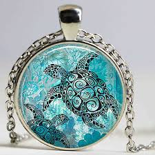bag pendant sea turtle cabochon glass