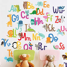 Amazon Com Alphabet Wall Decals For Kids Rooms Abc Toddler Boy And Girl Playroom Decor Animal Stickers Wall Decals For Kids Rooms With Free Gift Kitchen Dining