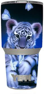 Amazon Com Skin Decal Vinyl Wrap For Yeti 30 Oz Rambler Tumbler Stickers Skins Cover Cute White Tiger Cub Butterflies Kitchen Dining
