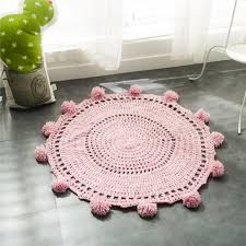 Pink Crochet Round Rugs Carpets For Children Room Decoration Kids Baby Blanket Game Mat Diameter 80cm Play Mat Iranian Carpets Commercial Carpet Tile From Kunnylight 31 25 Dhgate Com