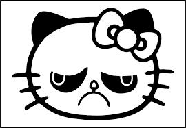 Hello Kitty Grumpy Cat Die Cut Vinyl Sticker Decal Sticky Addiction