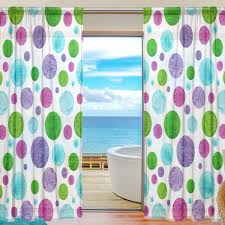Amazon Com Colourlife Watercolor Polka Dot Sheer Gauze Door Curtain Window Curtain Drapes For Living Room Kids Bedroom Window Treatment Decor W55 X L84 Inches Set Of 2 Panels Home Kitchen