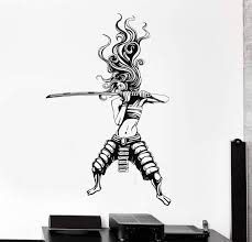 Vinyl Wall Decal Samurai Woman Asian Warrior Japanese Stickers Unique Wallstickers4you
