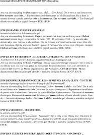 des clefs et des serrures pdf pdf