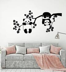 Vinyl Wall Decal Panda Bears Cute Animals Zoo Tree Branch Flowers Stic Wallstickers4you