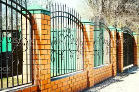 Brick And Metal Fence With Door And Gate Of Modern Style Design Metal Fence Ideas Stock Photo Download Image Now Istock