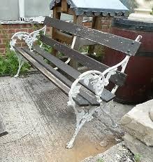 antique cast iron garden bench in the