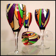 hand painted wine glasses two available