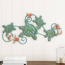 Shop Sea Turtles Wall Art With Shells And Starfish Nautical 3d Metal Hanging Decor By Lavish Home On Sale Overstock 25748010