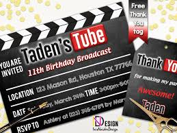 Youtube Invitation Youtube Birthday Invitation Youtube Theme